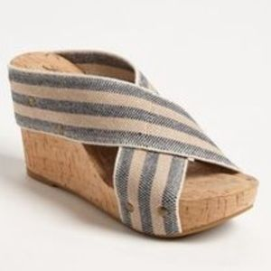 Lucky Brand Miller 2 Striped Cork Wedge Size 8